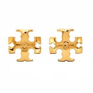 TORY BURCH • Gold Small Kira Logo Earrings